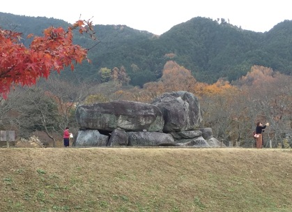 The exposed crypt of Ishibutaizuka tomb, Asuka